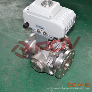 Electric flanged stainless steel cf8 3 way ball valve