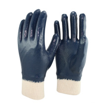 NMSAFETY cor azul forro Jersey luva de trabalho de nitrilo para serviços pesados / luva de segurança para a Rússia