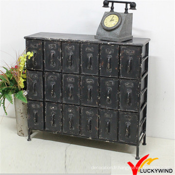 Shabby Chic Vintage Industrial 18 tiroirs Black Metal Cabinet