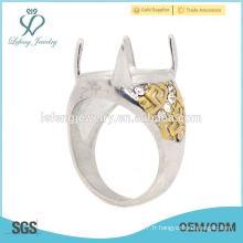 Fantaisie en acier inoxydable Silver & Gold conçoit des anneaux d'indonésie pour hommes, de beaux anneaux