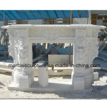 White Lion Surface Carved Marble Fireplace (SY-MF022)