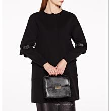 17PKCSC012 mulheres camada dupla 100% cashmere casaco de lã