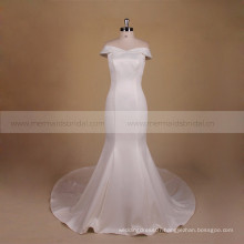 Newest Cap Sleeve Satin Wedding Dress Mermaid