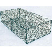 Gabion wall made of stones in the steel mesh