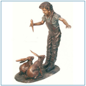 Life Size Bronze Girl with Rabbit Statue