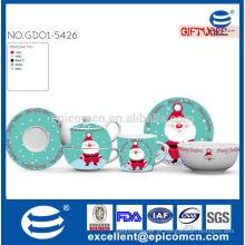 Natal pintura Chinaware chá conjunto