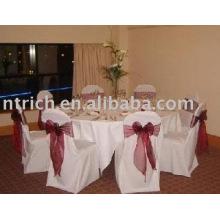 100 % polyester chaise housses, housses de chaise hôtel/banquet, ceinture d'organza