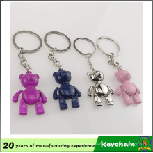 Multicolor 3D Metal Smile Bear Custom Key Chain