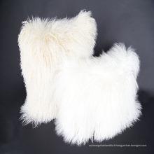 Gros mongol agneau fourrure délicate peau de mouton housse de coussin