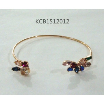 Open Colourful Flowers Bracelet with Metal