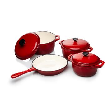 4 Pieces Enameled Cast Iron Parini Cookware Set Choice of Color