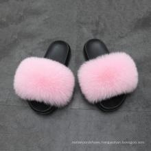 wholesale custom indoor slipper luxury style women fur flat slides fox fur slipper