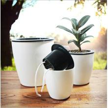 (BC-F1025) Plástico quadrado de moda auto-molhar imitação porcelana Flower Pot