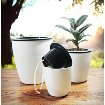 (BC-F1025) Plastic Fashionable Square Self-Watering Imitation Porcelain Flower Pot