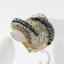 New Punk Gold plated metal zinc alloy women crystal Finger Rings wholesale