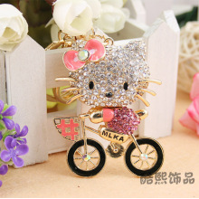 Cycling hello kitty creative crystal Keychain full rhinestone cat bicycle metal key chain women bag hanger wholesale
