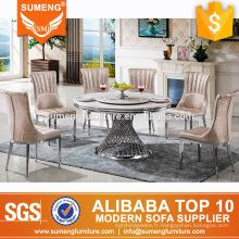tables de salle à manger rondes de style moderne en marbre blanc haut restaurant en acier inoxydable