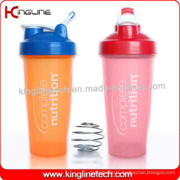 600ml Plastic Protein Shaker Bottle with Blender mixer Ball and Handle (KL-7010D)