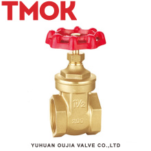 DN20 full port high quality brass color double internal thread full open with red hand wheel brass gate valve