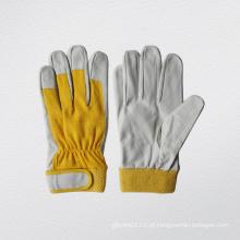 Pig Grain Leather Spandex Knitted Algodão Back Work Glove (7142)