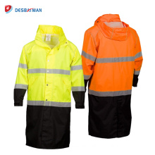 Custom 100% Waterproof High Visibility Adult Long Rain Coat with 3M Reflective Tapes and Front Zipper Safety EN20471