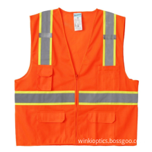 High Visibility Reflective Safety Vest with Pockets and Zipper