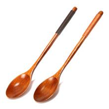 Mango largo de la marca FQ que mide la cuchara de café del helado de la miel del té de madera