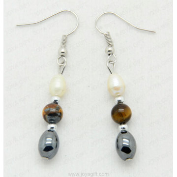 Hematite Oval earring with 6MM tigereye round beads