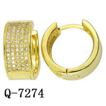 925 Sterling Silver Huggie Earrings 18 K Gold Plating (Q-7274)