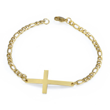 Trenday Popular Ladies Gold Chain Link Colombiano Hecho a mano Jesus Cross Bracelet