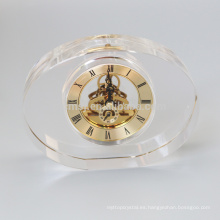 Reloj de cristal oval en blanco de la moda para el escritorio