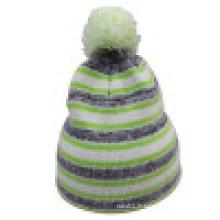 Bonnet tricoté avec tricot en rayure NTD014
