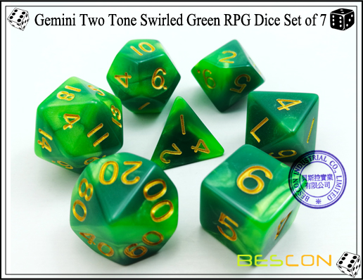 Gemini Two Tone Swirled Green RPG Dice Set of 7-2