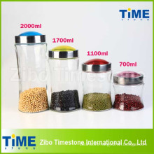 4PCS Bean Storage Clear Glass Jars with Screw Top Lid