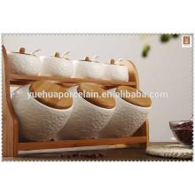Wholesale salt Jar Ceramic Food Storage Container with bamboo rack