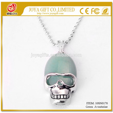 Natural Green Aventurine Gemstone Skull Pendant Necklace 10SN0170 with 60CM Silver Chain Semi Precious Stone Crystal Jewelry