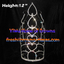 12inch Crystal Pageant Crowns Heart Shaped