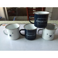 Custom enamel mug with SS rim