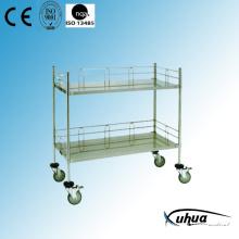 Chariot de dressage médical d'hôpital en acier inoxydable (Q-14)