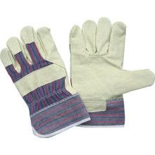 Pig Grain Leather Full Palm Stripe Cotton Back Work Glove-3503