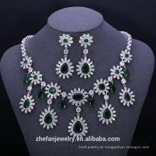 China atacado traje de esmeralda conjuntos de jóias de zircão acessórios de moda estoque