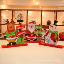 Décoration de Noël en bois Décoration de table Ornement Glitter Décoration