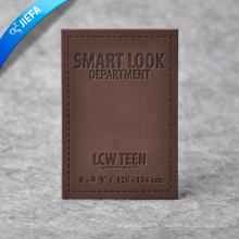 Étiquette en cuir faite sur commande de cuir de mode / cuir de relief d'unité centrale pour des jeans / sac à main