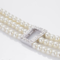 3 Strand White Faux Pearl Necklace