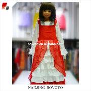Girl mandarin fashion kids party wear ren&white dots dress