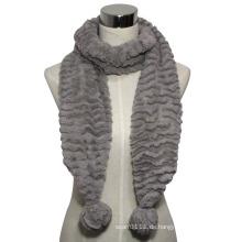 Lady Fashion Faux Pelz gestrickter Schal mit POM-Poms (YKY4363)