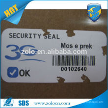 Hard to rip off Permanent sticky zolo destructible label