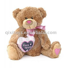 plush valentine teddybear with heart and bow,soft animal toy