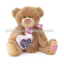 pelúcia valentim teddybear com coração e arco, brinquedo animal macio