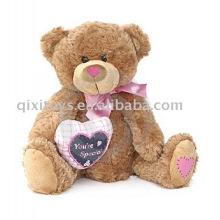 плюшевый медвежонок валентинка с сердцем и бантом,мягкая игрушка животного